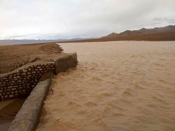آبگیری پروژه پخش سیلاب ایور شهرستان جاجرم در بارندگی های اوایل فروردین