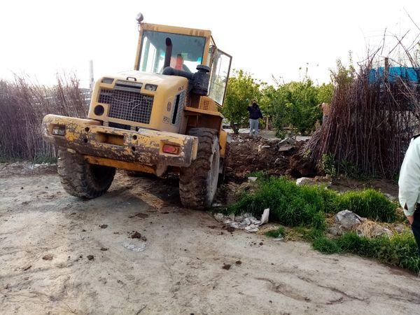 تخریب ساخت و ساز غیرمجاز در روستای زرنان شهرستان قدس