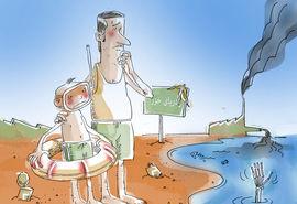 آلودگی دریای خزر تهدیدی برای گردشگری تابستانی -کارتون فیروزه مظفری